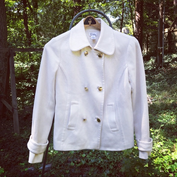 Lilly Pulitzer Winter White Wool Peacoat